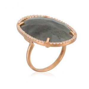 Rose gold ring with faceted...