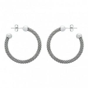 纯银纹理式耳环