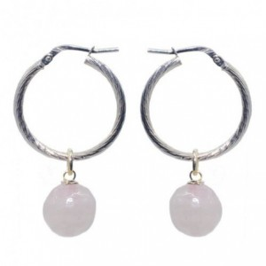 Silver hoops with faceted...