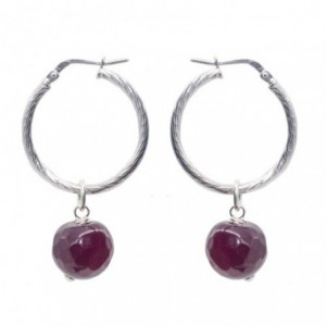 Silver hoops with fuchsia...