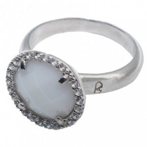 Silver ring with white jade