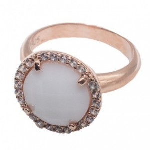 Rose gold ring and white jade