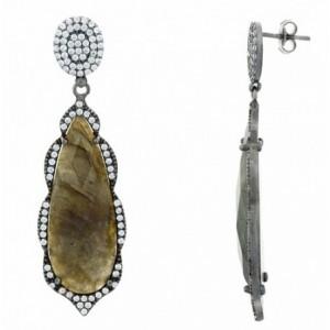 拉长石纯银耳环